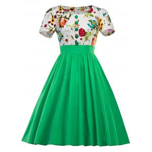 Single Breasted Floral 1950s Swing Dress