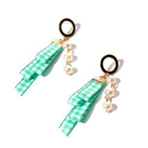 Faux Pearl Plaid Fabric Circle Earrings