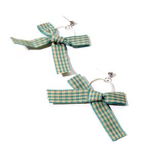 Plaid Fabric Rhinestone Bow Circle Earrings - Green - 38