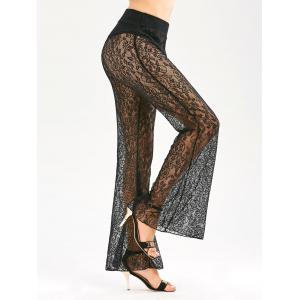 Sheer Lace Elastic Waist Flared Pants - Black - 2xl