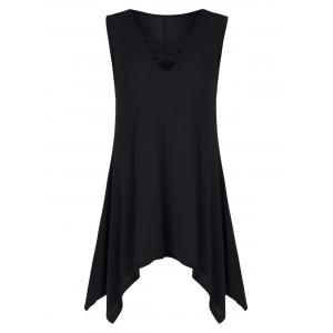 V Neck Criss Cross Tunic Top - Black - S