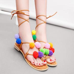 Pom Pom Gladiator Flat Sandals - Brown - 37