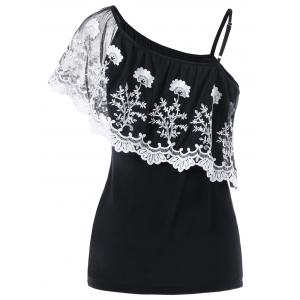 Ruffle Lace Insert One Shoulder T-Shirt - BLACK XL
