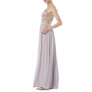 Cochet Lace Long Chiffon Formal Prom Dress -