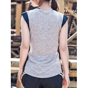 Two Tone Sleeveless Sports Top - BLACK M