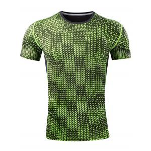Quick Dry Grid Pattern Sport T-shirt