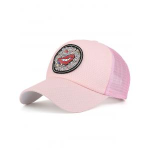 Mesh Splicing Lip Pattern Rhinestone Baseball Hat - Pink - S