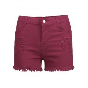 High Waisted Ripped Denim Shorts - Wine Red - Xl