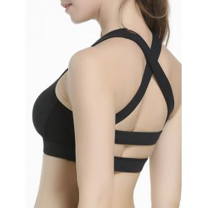 Criss Cross Sports Padded Bra - Black - S