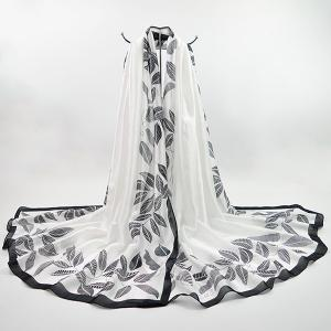 Imitation Silk Fabric Leaf Printing Smooth Scarf - White - S