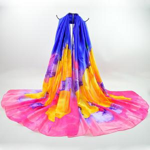 Smooth Color Blocking Imitation Silk Shawl Scarf - Royal