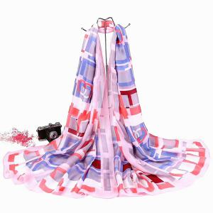 Smooth Imitation Silk Checked Shawl Scarf - Pinkish Purple