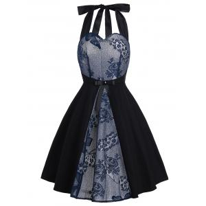 Vintage Lace Panel Bowknot Fit and Flare Dress