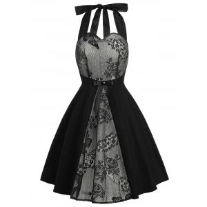 Vintage Lace Panel Bowknot Fit and Flare Dress - Black - S