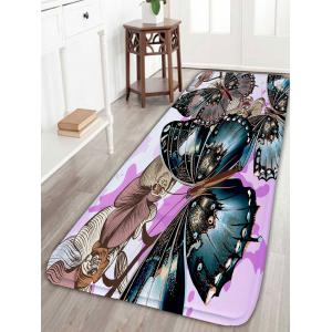 Butterfly Flower Print Flannel Skid Resistant Bathroom Rug - Light Purple - One Size