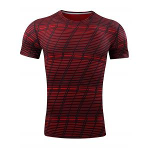 Quick Dry Striped Pattern Gym T-shirt - Red - L