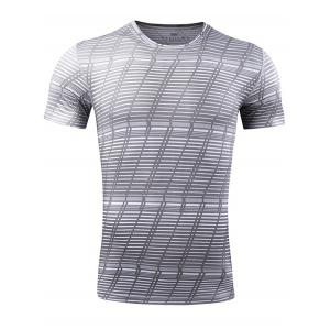 Quick Dry Striped Pattern Gym T-shirt