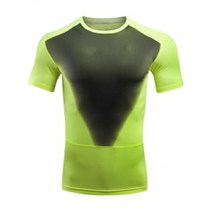 Breathable Quick Dry Color Block Sport T-shirt - Neon Green - 5xl