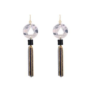Resin Geometric Chain Tassel Drop Earrings
