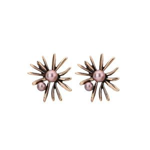 Floral Shape Faux Pearl Alloy Stud Earrings - Bronze-colored
