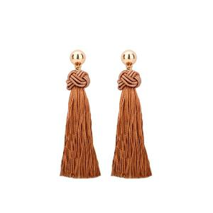 Chinese Knot Tasseled Drop Earrings - Light Brown