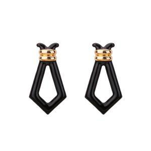 Hollowed Geometric Stud Earrings - Black
