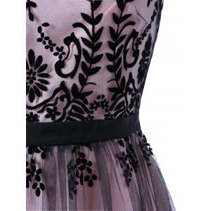 Mesh Floral Print Cocktail Prom Dress - COLORMIX 2XL
