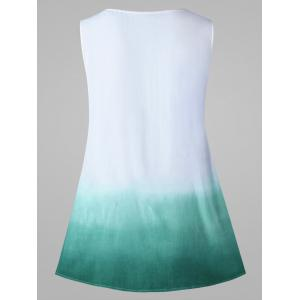 Ombre Sleeveless Tunic Top - WHITE AND GREEN 2XL
