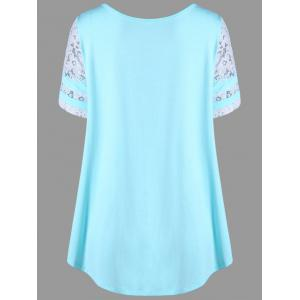 Floral Lace Panel T-shirt - BLUE L