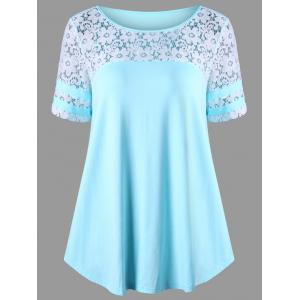 Floral Lace Panel T-shirt - Blue - 2xl