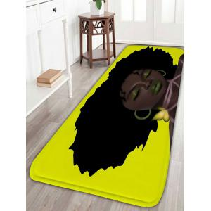 Water Absorption Afro Hair Girl Print Bathroom Rug