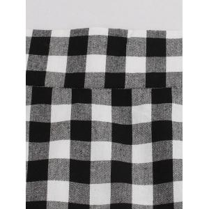 High Waist Tartan Mermaid Skirt - BLACK WHITE S