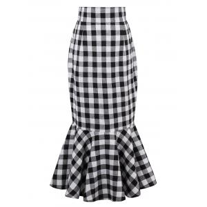 High Waist Tartan Mermaid Skirt - Black White - 2xl