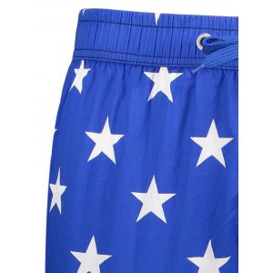 Star and Stripe Print Drawstring Patriotic Board Shorts - BLUE L