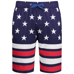 Star and Stripe Print Drawstring Patriotic Board Shorts