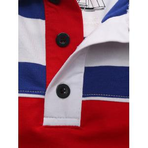 Stripe Color Block Panel Anchor Embroidered Polo T-shirt -