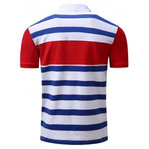 Stripe Color Block Panel Anchor Embroidered Polo T-shirt - BLUE 3XL