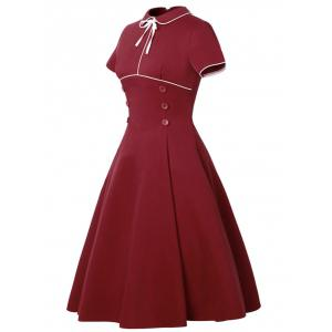 Buttoned Vintage Dress - RED S
