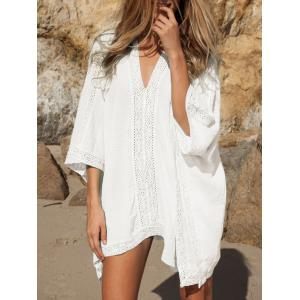 Oversized Lace Insert Cover Up Top - WHITE ONE SIZE