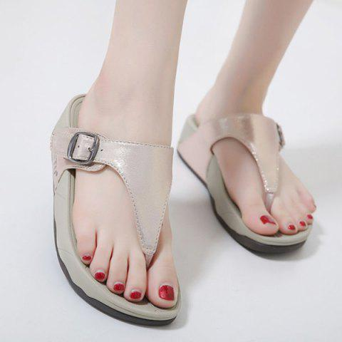 Trendy Wedge Heel Belt Buckle Slippers