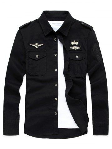Badge Embroidered Design Military Shirt - Black - Xl