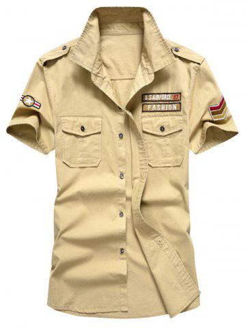 Embroidered Patch Front Pocket Shirt - Khaki - L