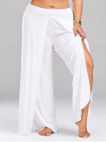 High Split Plus Size Palazzo Pants - White - 2xl