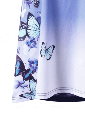 Buy Plus Size Ombre Butterfly Print T-shirt - 5XL BLUE Mobile