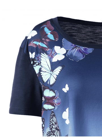Trendy Plus Size Ombre Butterfly Print T-shirt - 5XL BLUE Mobile