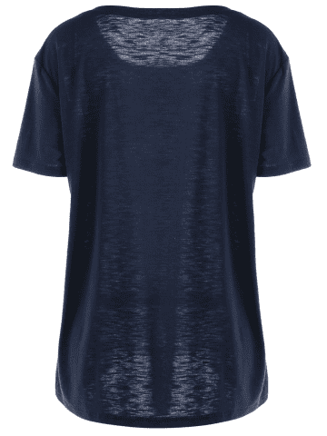 Online Plus Size Ombre Butterfly Print T-shirt - 5XL BLUE Mobile