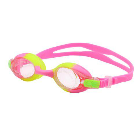 Kids UV Protection Anti Fog Waterproof Plain Mirrored Swimming Goggles - Pink - 137*70cm