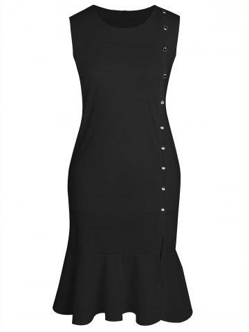 Sleeveless Fitted Plus Size Mermaid Bodycon Dress - Black - 4xl