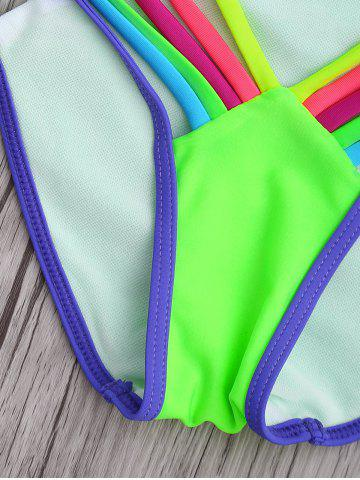 Outfits Halter Colorful Strappy String Bikini Set - S COLORMIX Mobile
