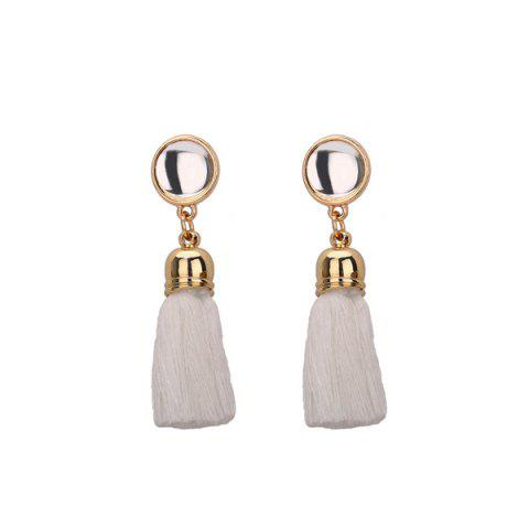 Vintage Tassel Drop Earrings - White